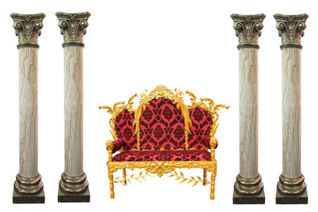 Ornated golden red king throne and marble columns isolated over white background Stock Photo