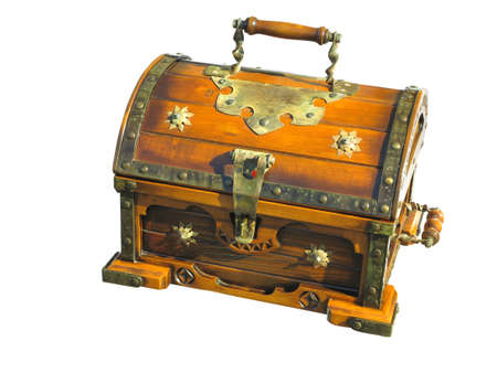 Old wooden brown vintage treasure chest isolated over white background