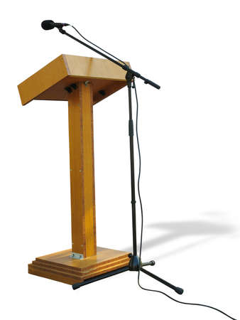 Wooden podium tribune stand rostrum with microphone isolated over white background 版權商用圖片