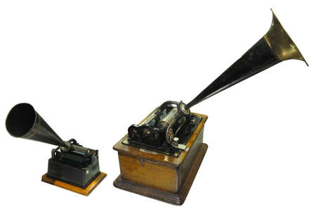 Edison phonograph sound recorder and player gramophone isolated over white background