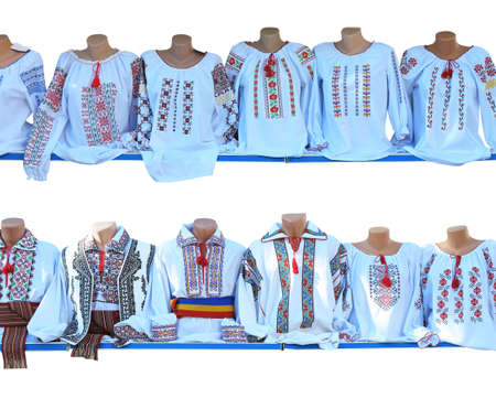 Balkan romania, bulgarian, moldova embroidered national traditional costumes clothes isolated over white background
