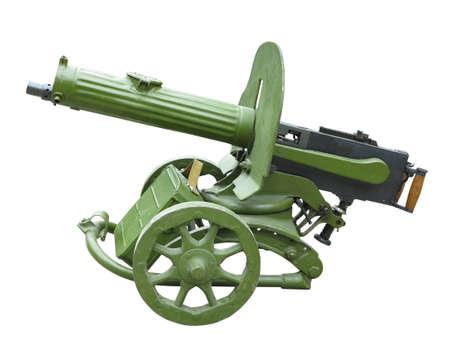 Old green Maxim machine gun isolated over white background