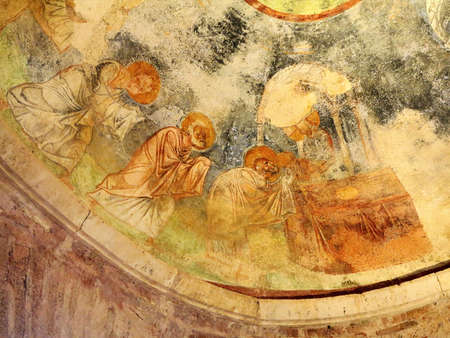 Demre, Turkey - July 2, 2019: Ancient frescoes in the St. Nicholas Byzantine Greek Church in Demre, Turkey 新聞圖片