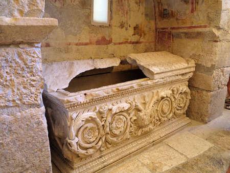 Sarcophagus in the church of St. Nicholas in Demre Turkey .