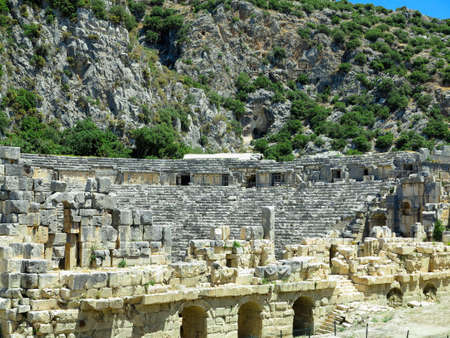 Ancient amphitheater in Myra, Turkey - archeology abstract background