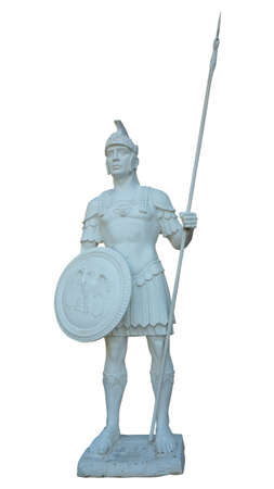 White statue of ancient roman legionary soldier isolated Stock Photo