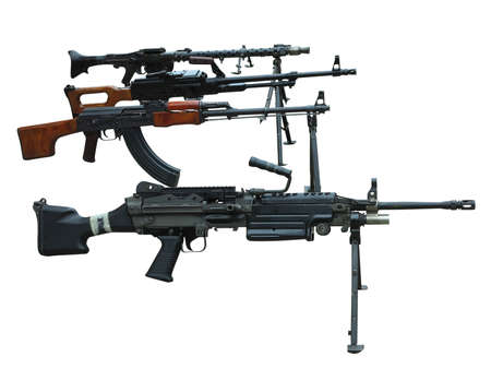 Military set of modern weapons machine guns arms isolated over white