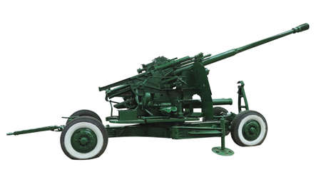Russian old green anti-aircraft machine gun isolated over white background