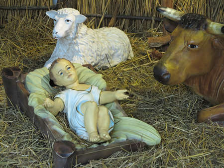 Realistic christmas nativity scene with figurines including Jesus and domestic animals