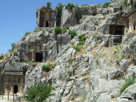 Ancient lycian Myra rock tomb ruins in Demre, Antalya, Turkey