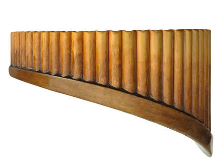 Vintage old brown wooden Pan Flute Isolated on white background