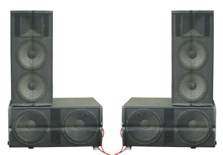 Old powerful stage concerto audio speakers isolated over white background