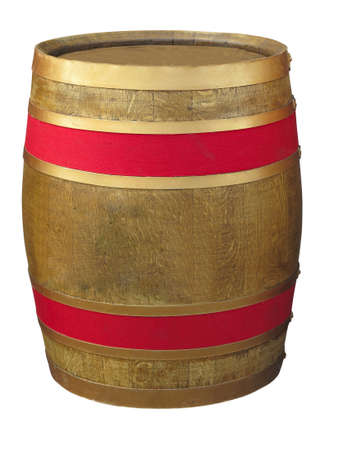 Brown wooden barrel with red line isolated over white background