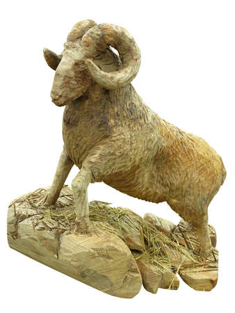 Brown wooden ram figurine statue concept isolated over white background