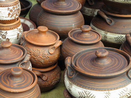 Beautiful handmade clay pots and other dishes sold at the fair shop