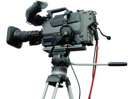 TV Professional studio digital video camera on tripod isolated over white background Imagens