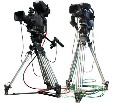 TV Professional studio digital video camera on tripod isolated over white background