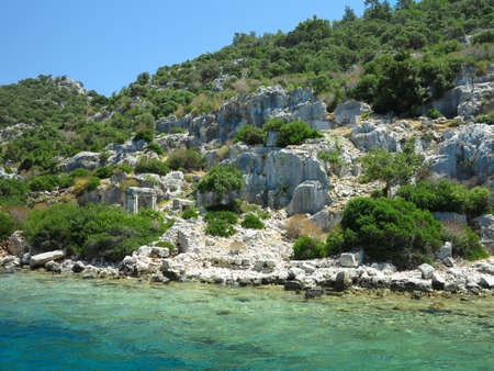 The sunken ruins on the island of Kekova Dolichiste of the ancient Lycian city of ancient Simena, was destroyed by an earthquake, rebuilt and existed until the Byzantine era. Antalya, Turkey.