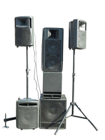 Old industrial powerful stage sound speakers isolated over white background