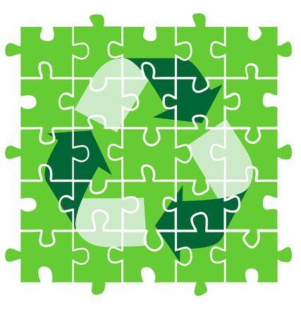 의식: green puzzle with recycling symbol