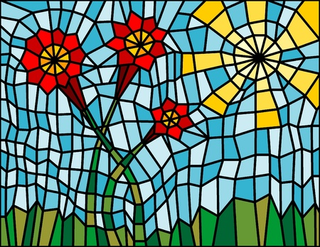 mosaic with flowers, grass and sun Stock Vector - 10038907