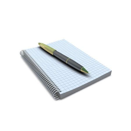 jot: Blank note book and pen Stock Photo