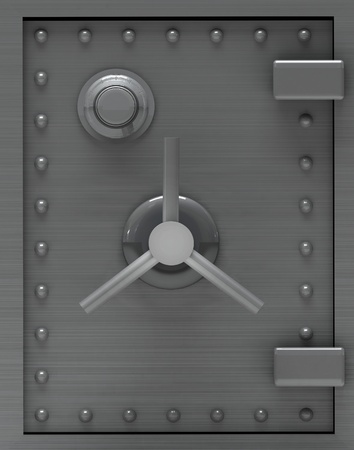 combination lock: Bank safe door.