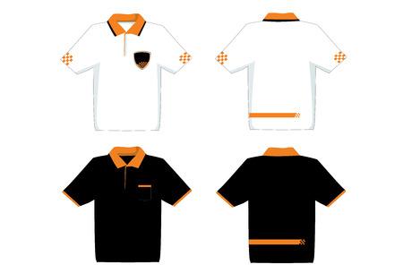uni: Black and White shirt template. Illustration