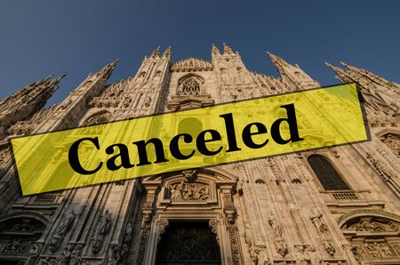 Detail of Milan Cathedral (Duomo di Milano) facade, famous tourist destination in Milan, Lombardy, Italy. Travel vacations canceled because of pandemic of coronavirus Covid-19, conceptual photo.