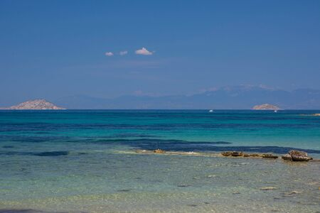 The clear and blue waters of Mediterranean sea in the Saronic gulf, Greece. Stock Photo