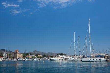 View of Aegina town in Aegina island, Saronic gulf, Greece. Stock Photo
