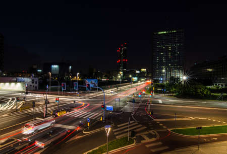 Milan/Italy- July 10, 2016: busy night traffic at the new Porta Nuova business district