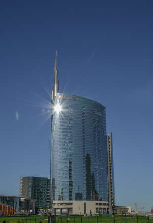 Milan/Italy- July 14, 2019: modern building of Unicredit tower in new Porta Nuova business district, the tallest skyscraper in Italy
