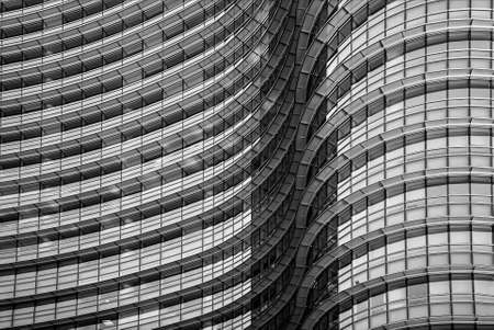 Milan/Italy- July 14, 2019: detail of the modern glass Unicredit tower in new Porta Nuova business district, the tallest skyscraper in Italy 新闻类图片
