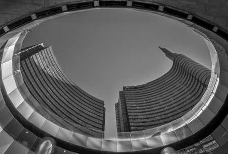 Milan/Italy- July 14, 2019: modern building of Unicredit tower, the tallest skyscraper in Italy and new Gae Aulenti's square in Porta Nuova business district