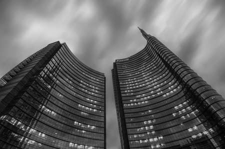 Milan/Italy- July 12, 2019: modern building of Unicredit tower in new Porta Nuova business district, the tallest skyscraper in Italy