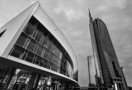 Milan/Italy- July 12, 2019: modern building of Unicredit tower, the tallest skyscraper in Italy and new Gae Aulenti's square in Porta Nuova business district