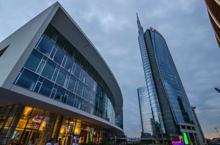 Milan/Italy- July 12, 2016: modern building of Unicredit tower, the tallest skyscraper in Italy and new Gae Aulenti's square in Porta Nuova business district