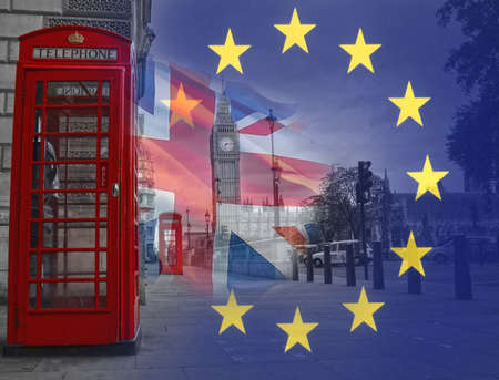 BREXIT conceptual image with flags of United Kingdom and European Union Banque d'images