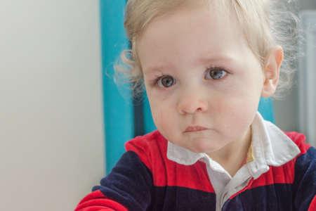Portrait of a cute little boy crying Banque d'images
