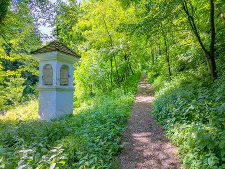 Path in the forest to the pilgrimage Church Maria Strassengel, a 14th century Gothic church situated on top of a hill in Judendorf Strassengel near Graz, Styria region, Austria