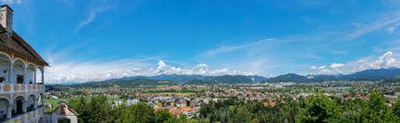 View of the town of Judendorf Strassengel from the pilgrimage Church Maria Strassengel hill, near Graz, Styria region, Austria
