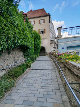 The old city gate of the charming little town of Frohnleiten in the district of Graz-Umgebung, Styria region, Austria