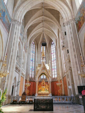 Beautiful interior of Church of the Sacred Heart of Jesus (Herz Jesu Kirche), designed in the Neogothic style and the largest church in Graz, Styria region, Austria