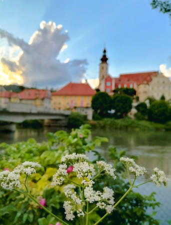 The charming little town of Frohnleiten on the Mur river in the district of Graz-Umgebung, Styria region, Austria. Selective focus
