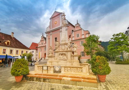 The Parish Church in the main square of the charming little town of Frohnleiten in the district of Graz-Umgebung, Styria region, Austria