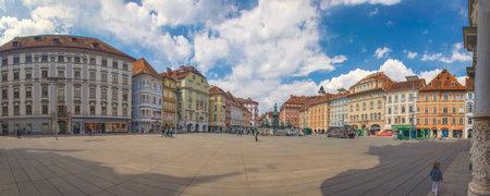 Graz, Austria-April 25, 2021: the beautiful main square Hauptplatz with colorful historical building, famous tourist attraction in the old city center of Graz Éditoriale
