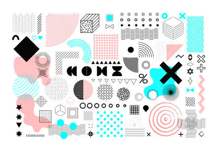 Set of universal geometric shapes. A combination of halftone elements with a vibrant turquoise and pink composition, isolated on a white background. Elements for web, vintage, advertising, commercial