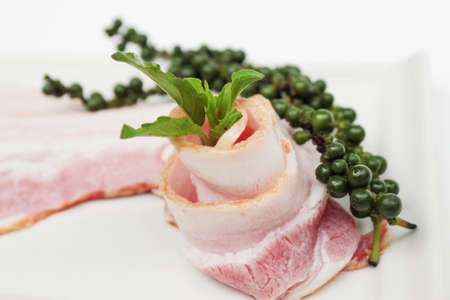 uncooked bacon: bacon strip Stock Photo