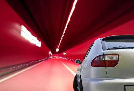 Close-up image of a sport car in a tunnel photo